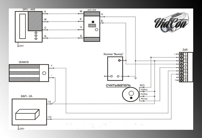 Схема подключения монитора